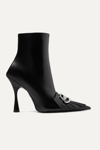 Knife Logo Embellished Fringed Leather Ankle Boots by Balenciaga