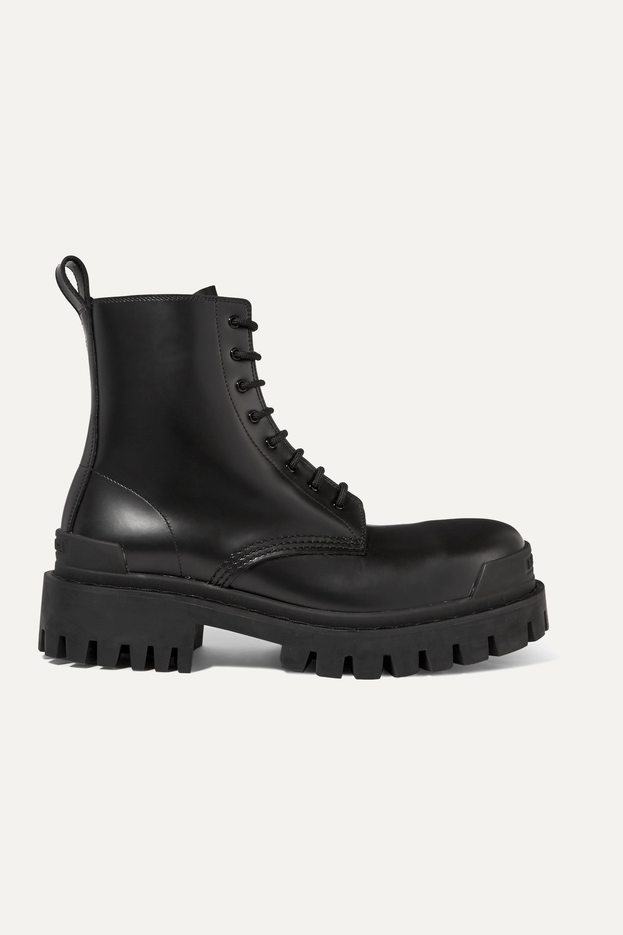 Black Strike leather ankle boots
