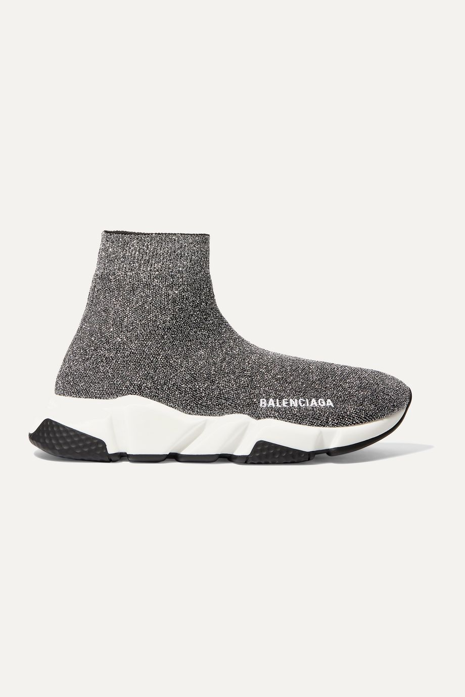 Balenciaga Speed logo-print metallic stretch-knit high-top sneakers