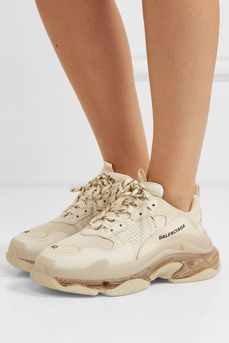 Cream Triple S Clear Sole logo-embroidered leather, nubuck and mesh sneakers | Balenciaga SVVGFN