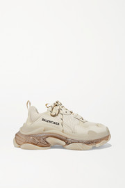 Triple S Clear Sole logo-embroidered leather, nubuck and mesh sneakers