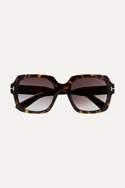 Autumn square-frame tortoiseshell acetate sunglasses