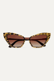 Dolce & Gabbana Cat-eye glittered leopard-print acetate and gold-tone sunglasses
