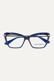 Dolce & Gabbana Cat-eye acetate and gold-tone optical glasses