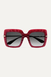 Dolce & Gabbana Square-frame acetate and gold-tone sunglasses