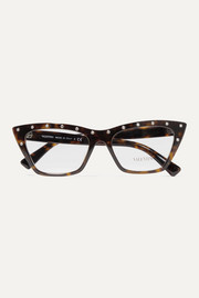 Valentino Garavani cat-eye crystal-embellished tortoiseshell acetate optical glasses