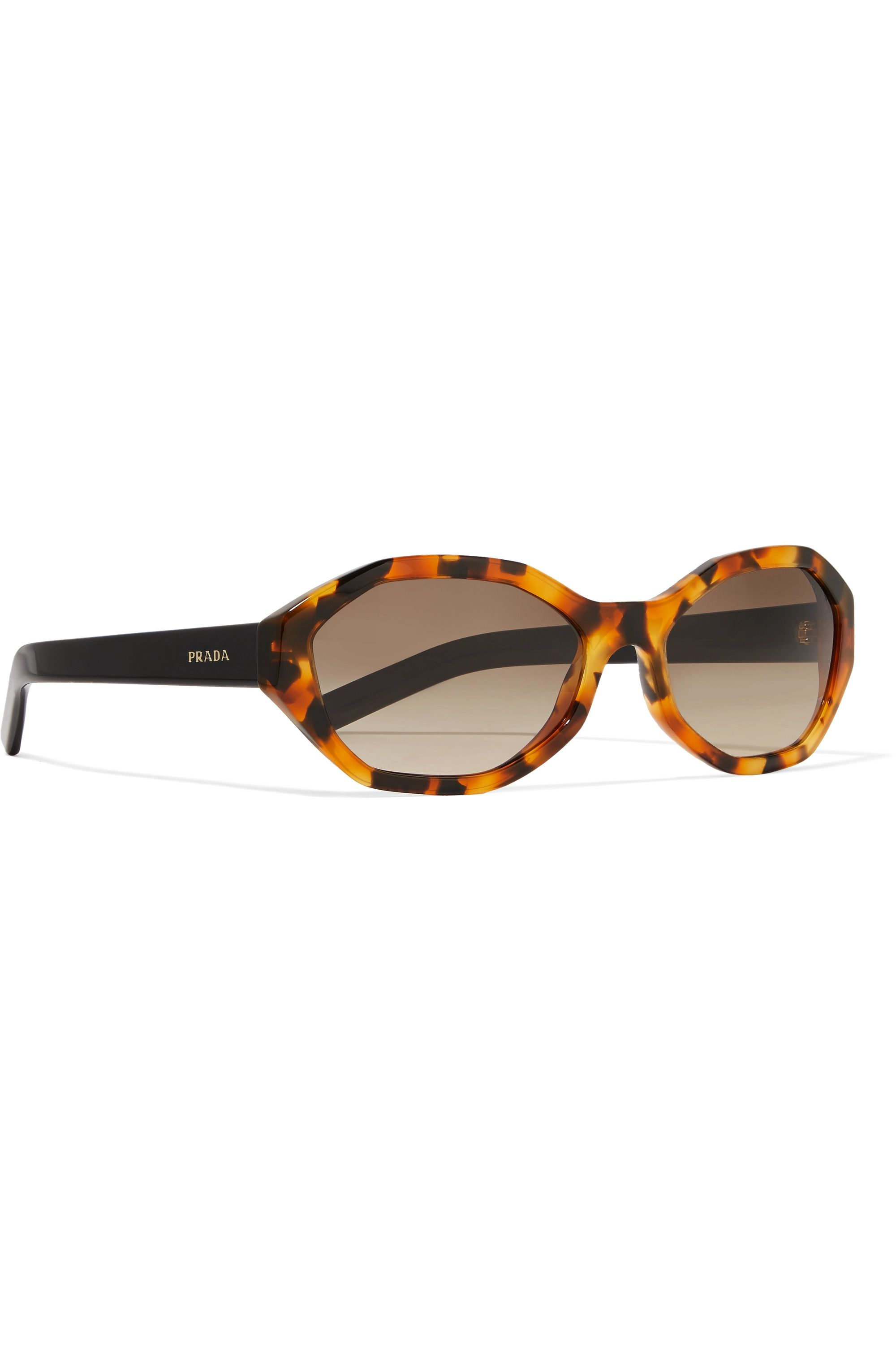Prada Eyewear Hexagon-frame tortoiseshell acetate sunglasses