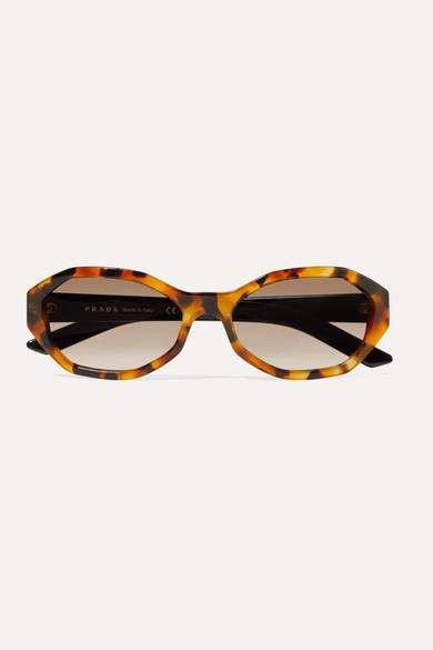 Hexagon Frame Tortoiseshell Acetate Sunglasses by Prada