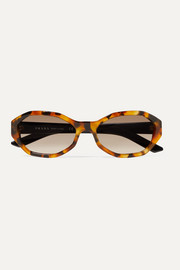 Hexagon-frame tortoiseshell acetate sunglasses