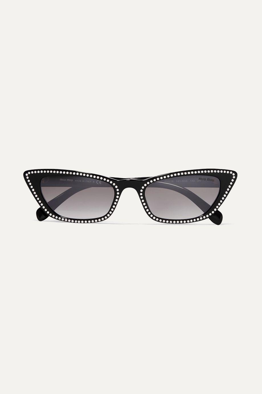 Miu Miu Cat-eye studded acetate sunglasses