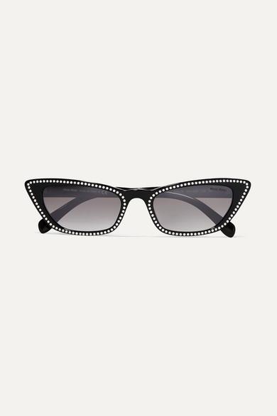 Cat Eye Sonnenbrille Aus Azetat Mit Kristallen by Miu Miu
