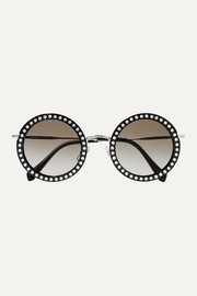 Crystal-embellished round-frame acetate and silver-tone sunglasses