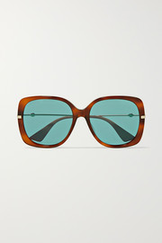 Oversized square-frame tortoiseshell acetate and gold-tone sunglasses