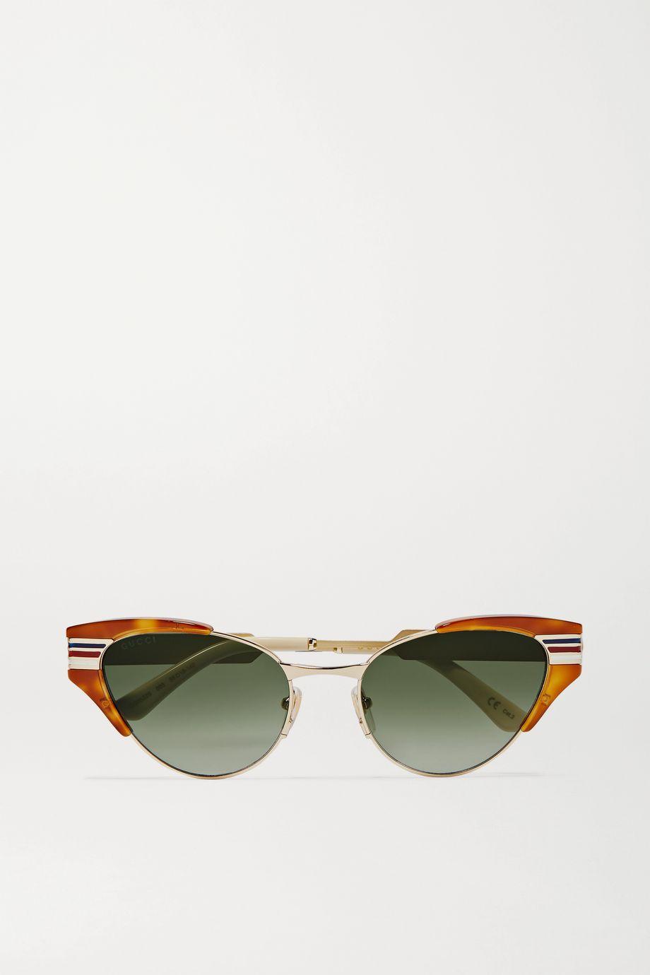 Gucci Lunettes de soleil œil-de-chat en acétate effet écaille et en métal doré