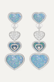 Chopard Happy Hearts 18-karat white gold, diamond and opal earrings