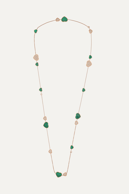 Chopard Happy Diamonds 18-karat rose gold, diamond and malachite necklace
