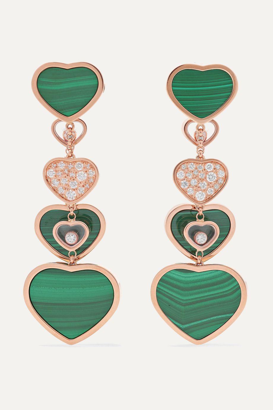 Chopard Happy Hearts 18-karat rose gold, diamond and malachite earrings