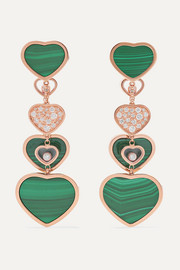 Chopard Happy Hearts Ohrringe aus 18 Karat Roségold mit Diamanten und Malachiten