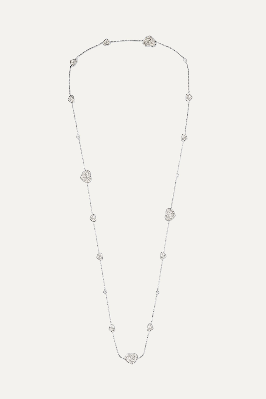 Chopard Happy Hearts 18-karat white gold diamond necklace