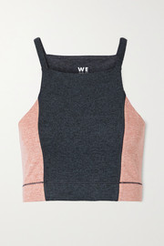 We Over Me The Wip cropped two-tone stretch-jersey top
