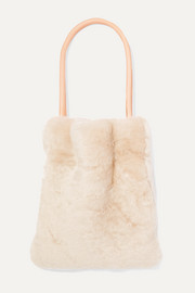Fazzoletto leather-trimmed shearling tote