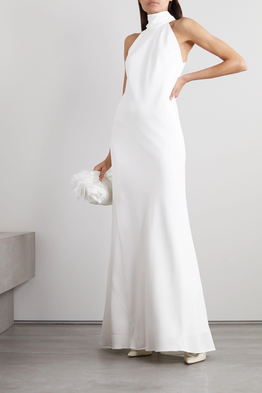 Galvan Sienna crepe halterneck gown