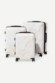 Metallic marbled hardshell suitcase set