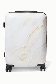 Carry-on metallic marbled hardshell suitcase