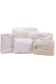 Set of 5 marbled canvas and mesh packing cubes