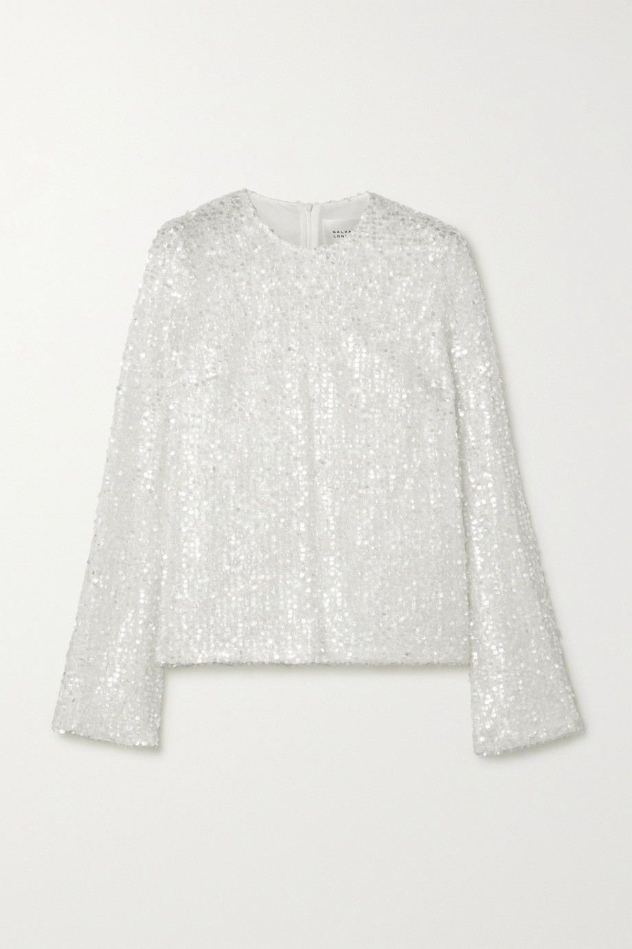 Galvan Sequined metallic tulle top