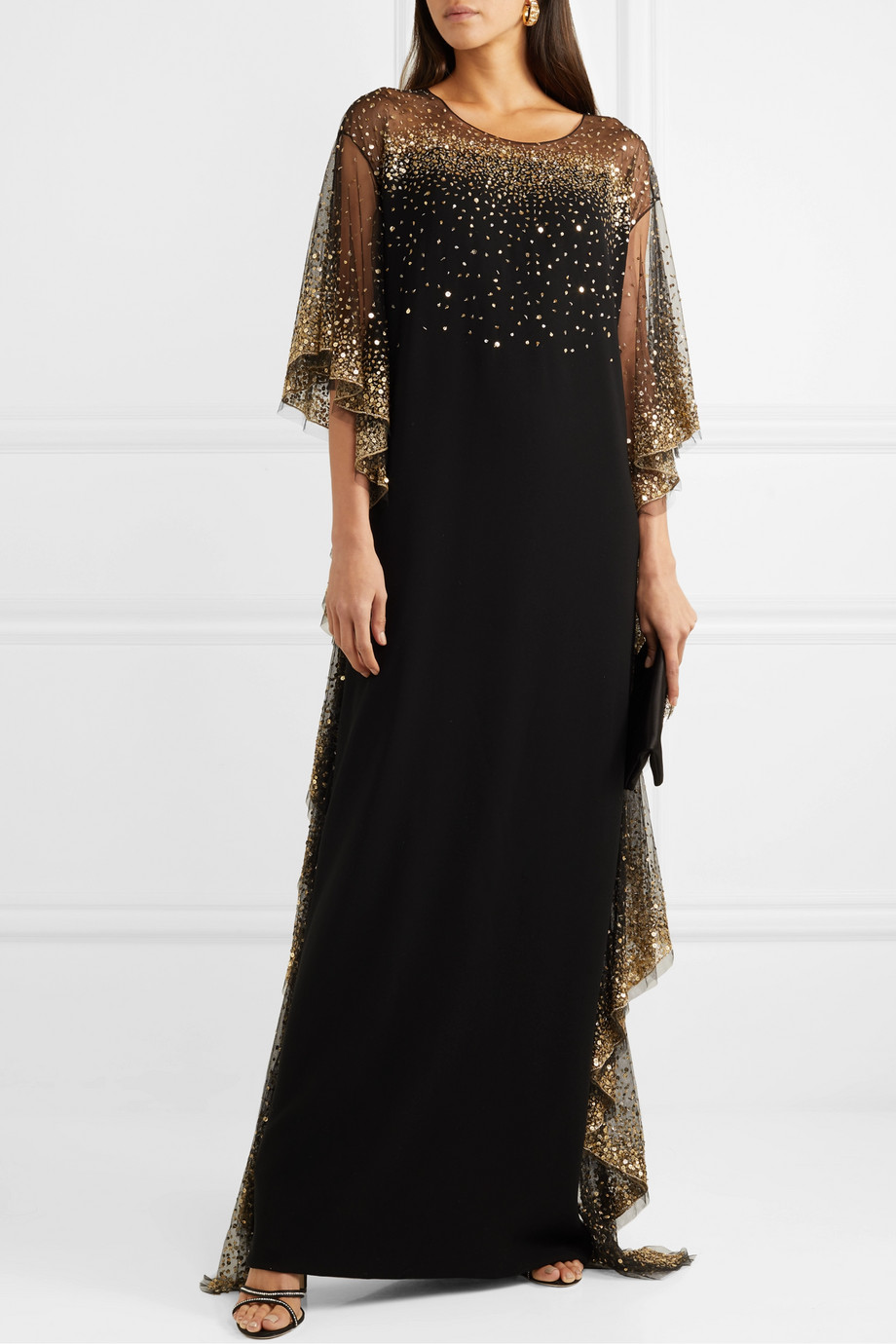 Marchesa Ruffled sequined tulle-trimmed cady gown