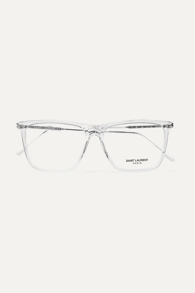 7f63e820572 SAINT LAURENT | Square-frame acetate and silver-tone optical glasses |  NET-A-PORTER.COM