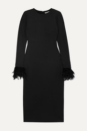 Alice + Olivia Debora feather-trimmed stretch-crepe dress