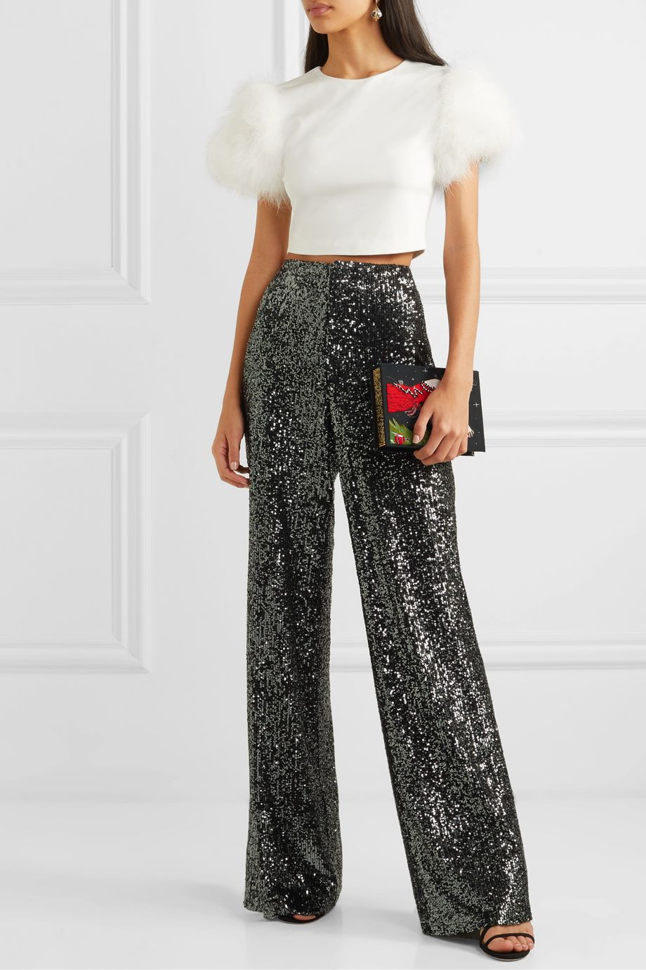 Alice + Olivia Ciara cropped feather-embellished crepe top