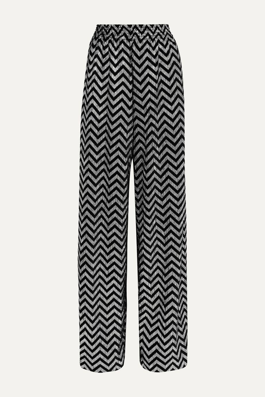 Alice + Olivia Pantalon large en velours plissé métallisé imprimé Elba