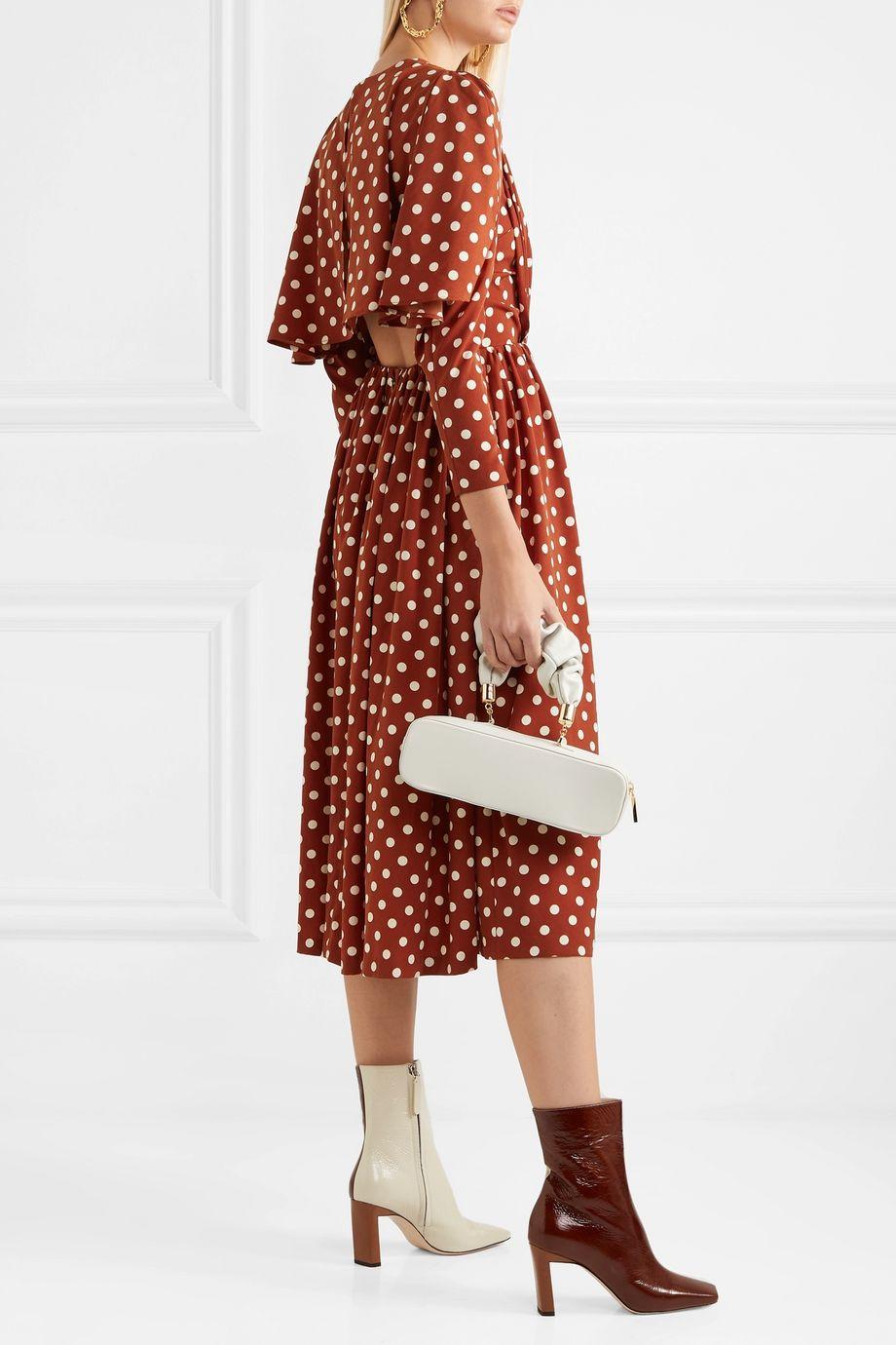 Pushbutton Cape-effect polka-dot pleated crepe de chine midi dress