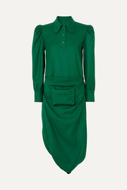 Pushbutton Belt bag-detailed draped wool-crepe midi dress