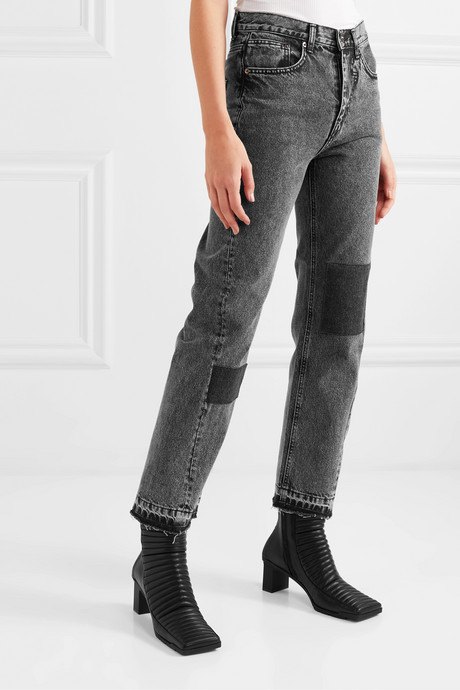 Patchwork acid-wash high-rise straight-leg jeans