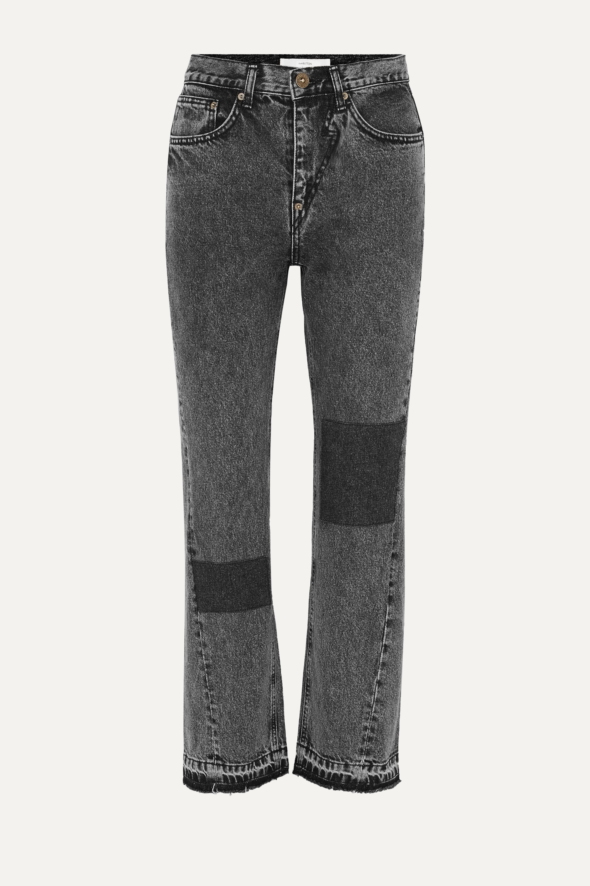 Pushbutton Patchwork acid-wash high-rise straight-leg jeans