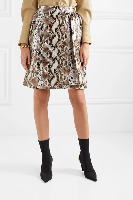 Layered snake-effect faux leather skirt