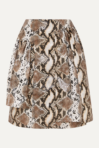 Pushbutton Skirts LAYERED SNAKE-EFFECT FAUX LEATHER SKIRT