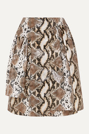 Pushbutton Layered snake-effect faux leather skirt
