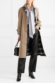Pushbutton Reversible cotton-blend gabardine and checked flannel coat