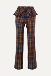 Pushbutton Layered checked twill straight-leg pants