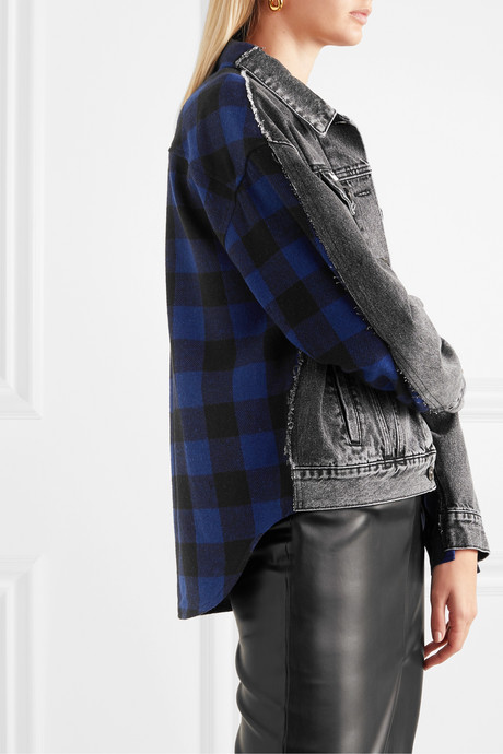 Paneled acid-wash denim and checked flannel jacket