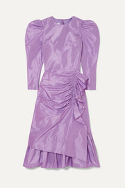 Pushbutton Ruched ruffled silk-taffeta midi dress