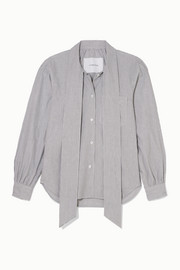Pushbutton Pussy-bow striped cotton-poplin blouse