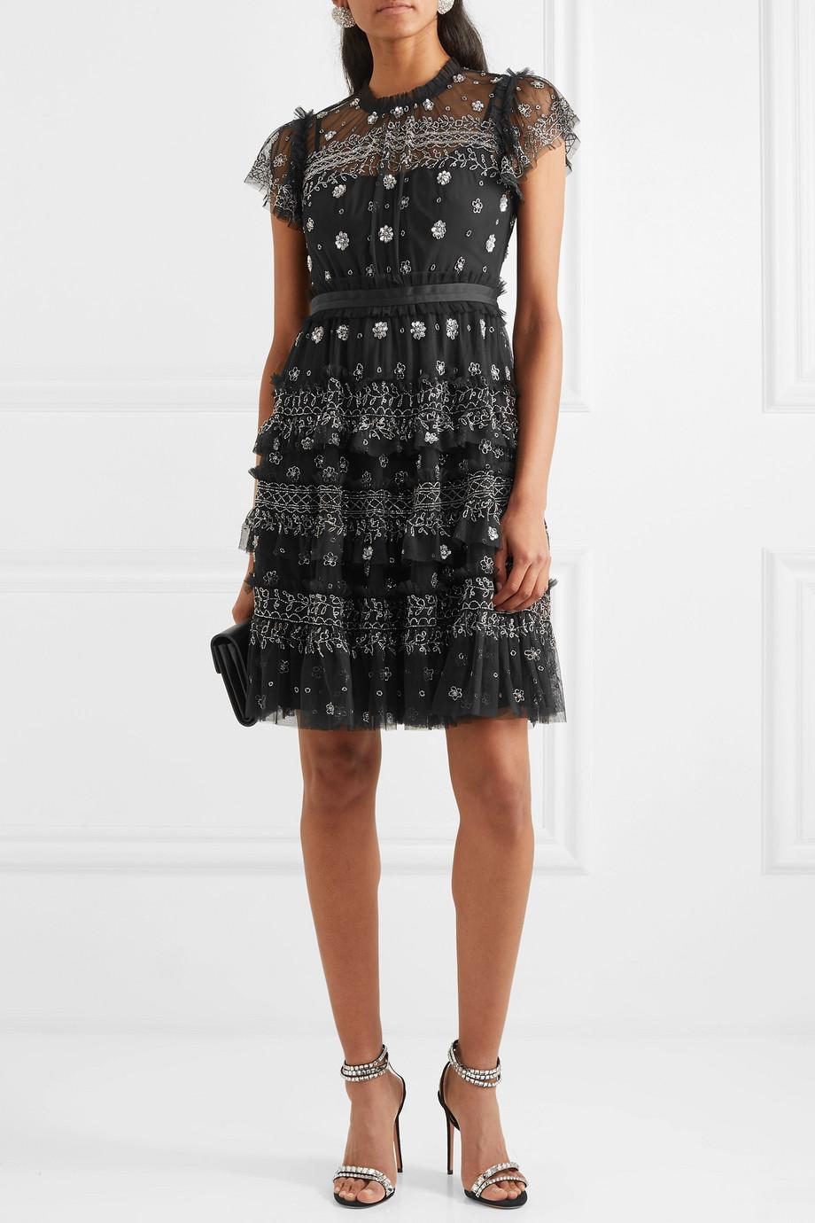 Needle & Thread Andromeda embellished tulle mini dress