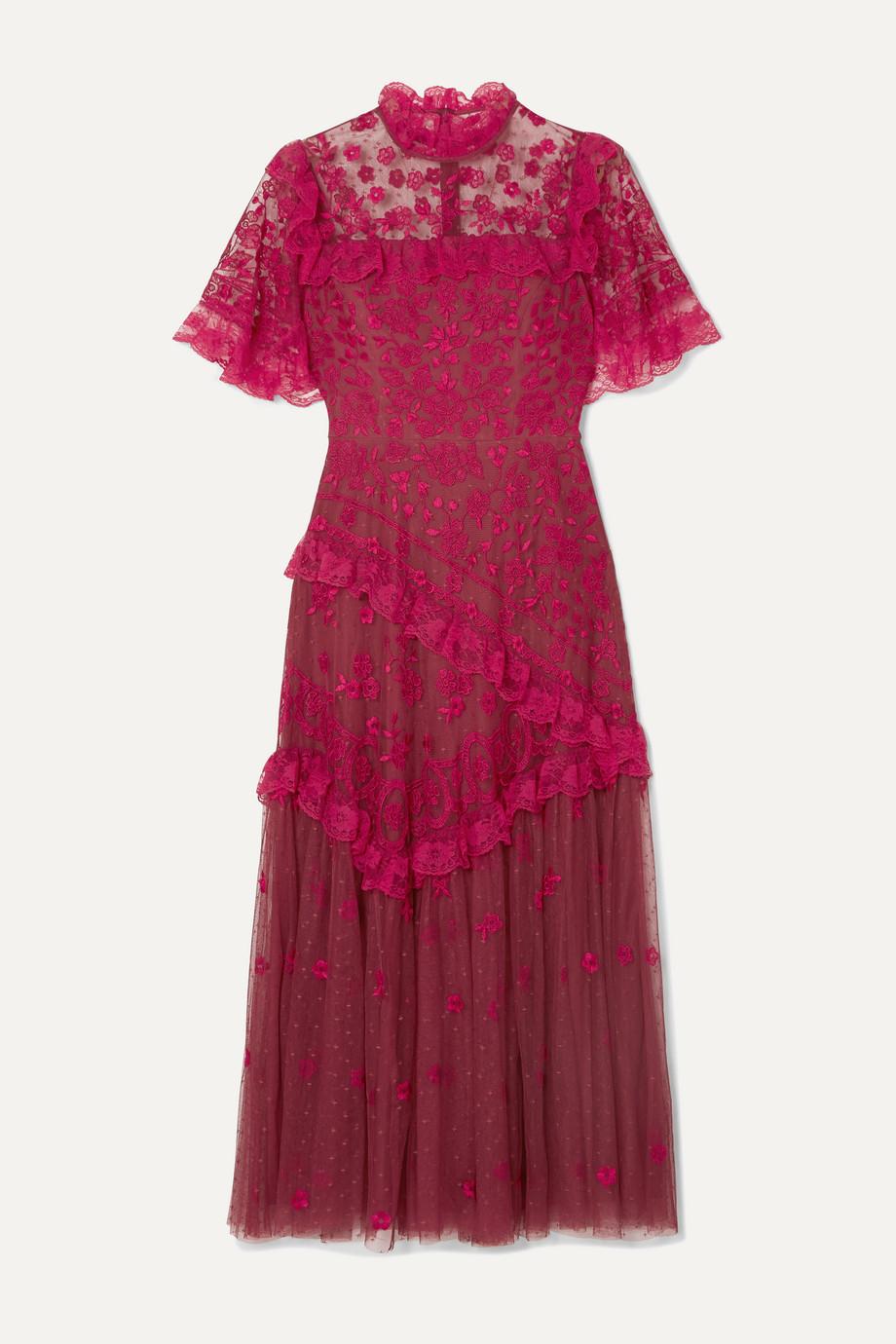 Needle & Thread Elsa Ballerina ruffled lace-trimmed embroidered tulle midi dress
