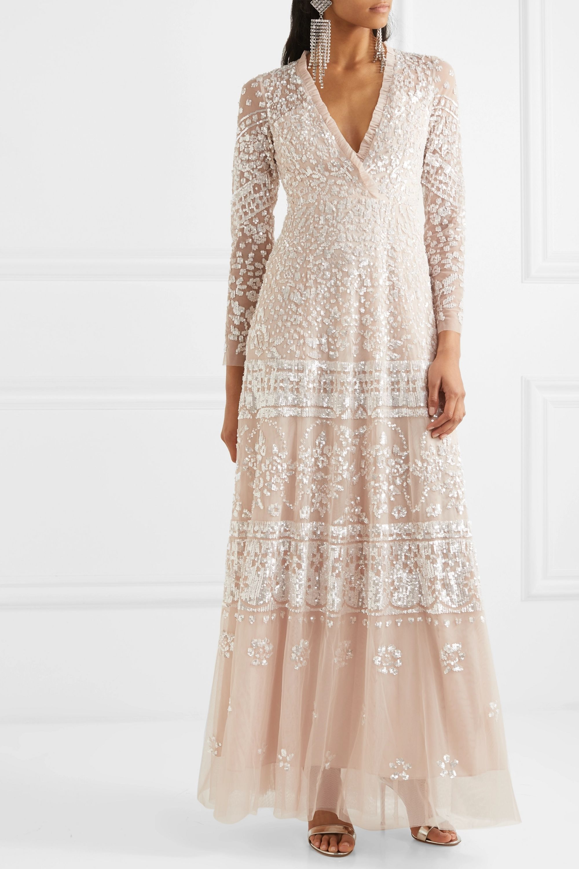 Needle & Thread Aurora sequined tulle gown